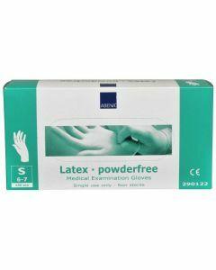 Abena Latex-handschoenen poedervrij, structuur, Maat S wit 10x100st