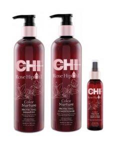 CHI Rose Hip Oil color care pakket XL