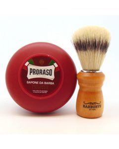 Proraso Sandelholz Rasierseife Bowl + Rasierpinsel Sibel